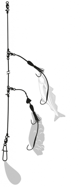 Zebco Leng Rig self-luminous 10/0 + 7/0 - 1,20mm - 65kg
