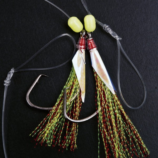 FLADEN Cod & Pollack Rig with green-red feathers Gr. 8/0